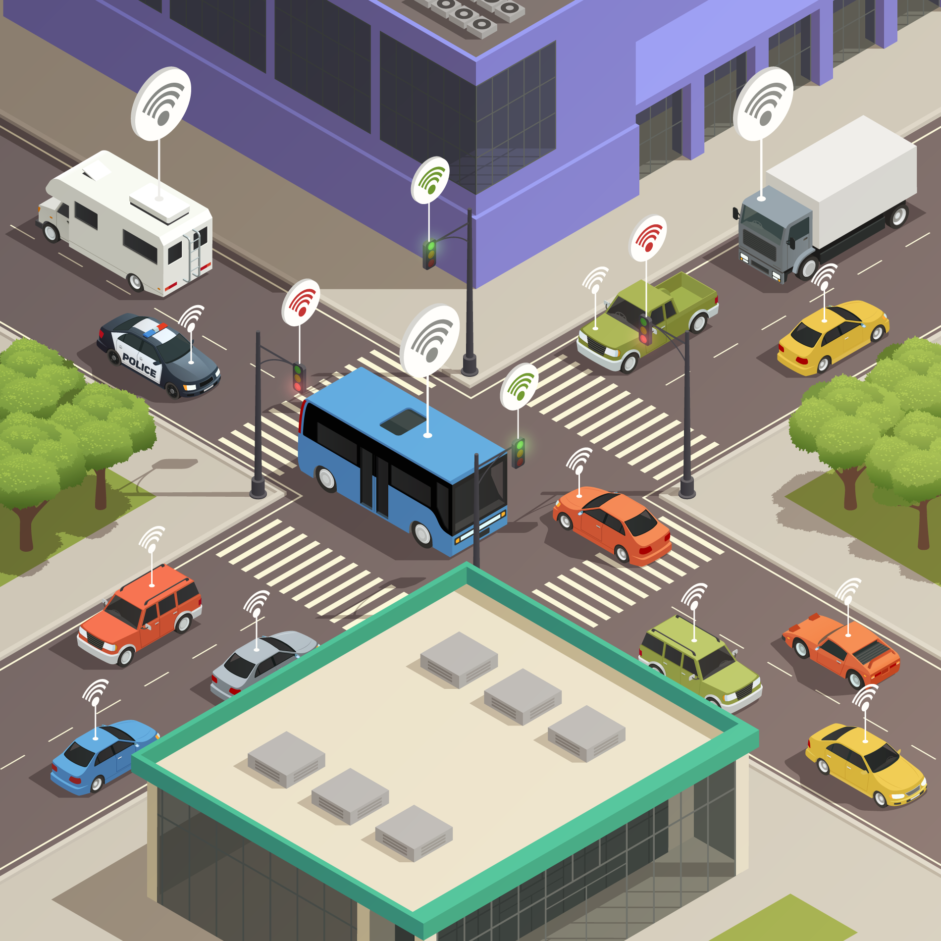 Illustration of a connected smart city