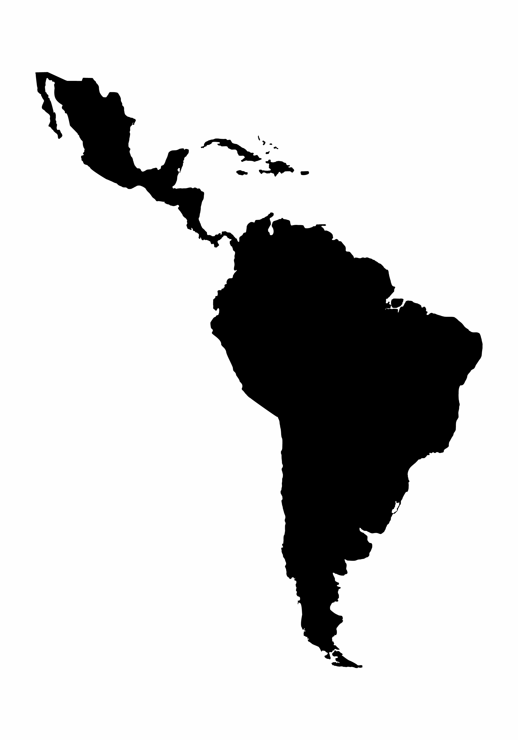 Watch this space -  a silhouette map of Latin and South America